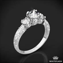 18k White Gold Champagne Petite 3 Stone Engagement Ring (0.50ctw ACA side stones included) | Whiteflash