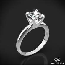 18k White Gold Classic 4 Prong Solitaire Engagement Ring for Princess with Platinum Head | Whiteflash