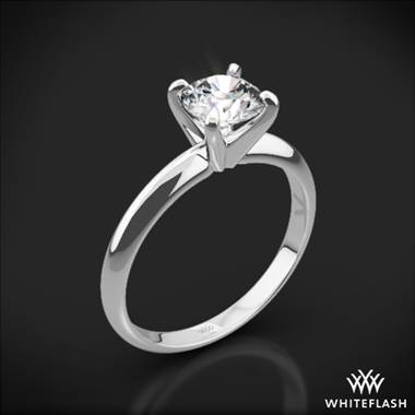 18k White Gold Classic 4 Prong Solitaire Engagement Ring with Platinum Head