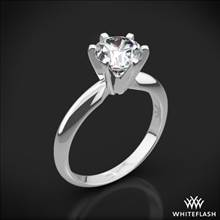 18k White Gold Classic 6 Prong Solitaire Engagement Ring with Platinum Head | Whiteflash