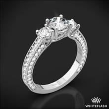 18k White Gold Coeur de Clara Ashley 3 Stone Engagement Ring | Whiteflash