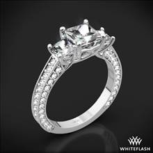 18k White Gold Coeur de Clara Ashley 3 Stone Engagement Ring for Princess | Whiteflash