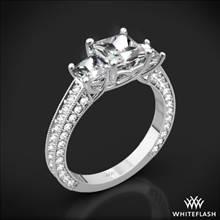 18k White Gold Coeur de Clara Ashley 3 Stone Engagement Ring for Princess | Whiteflash