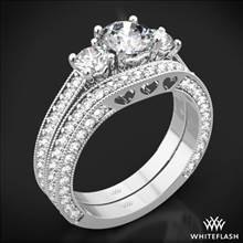 18k White Gold Coeur de Clara Ashley Three Stone Wedding Set | Whiteflash