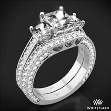 18k White Gold Coeur de Clara Ashley Three Stone Wedding Set for Princess | Whiteflash