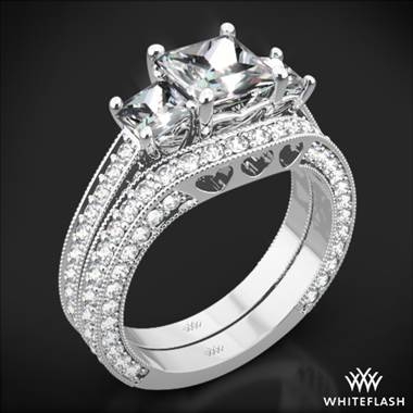 18k White Gold Coeur de Clara Ashley Three Stone Wedding Set for Princess