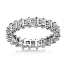 18K White Gold Common Prong Princess Diamond Eternity Ring (3.23 - 3.91 cttw.) | B2C Jewels