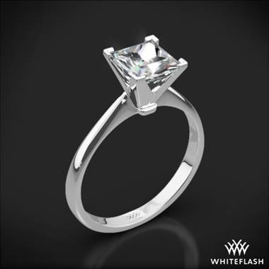 18k White Gold Contemporary Solitaire Engagement Ring for Princess