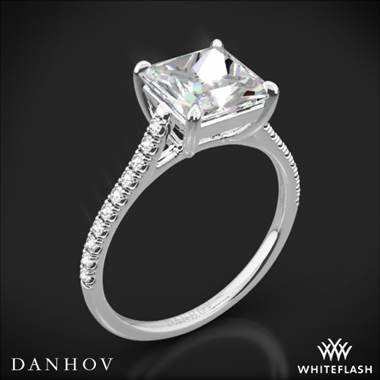 18k White Gold Danhov CL138P Classico Single Shank Diamond Engagement Ring for Princess