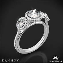 18k White Gold Danhov LE101 Per Lei Three Stone Halo Engagement Ring | Whiteflash