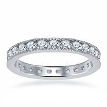 18K White Gold Diamond Eternity Ring Having Milgrain Border (1.15 - 1.35 cttw) | B2C Jewels