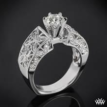 18k White Gold Elegant Petals Diamond Engagement Ring | Whiteflash