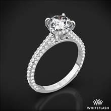 18k White Gold Elena Rounded Pave Diamond Engagement Ring | Whiteflash