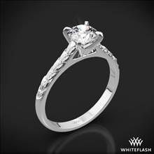 18k White Gold Engraved Cathedral Solitaire Engagement Ring | Whiteflash