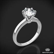 18k White Gold Exquisite Half Round Solitaire Engagement Ring | Whiteflash