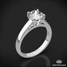 18k White Gold Flush-Fit Cathedral Solitaire Engagement Ring | Whiteflash