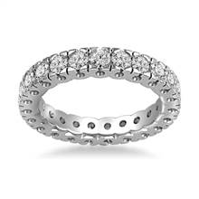 18K White Gold Four Prong Diamond Eternity Ring (1.40 - 1.68 cttw.) | B2C Jewels
