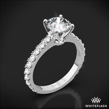 18k White Gold French-Set Diamond Engagement Ring