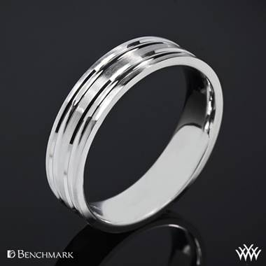 "18k White Gold ""Grooved Satin"" Benchmark Wedding Ring"