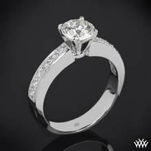 18k White Gold Half Eternity Bead-Set Diamond Engagement Ring | Whiteflash