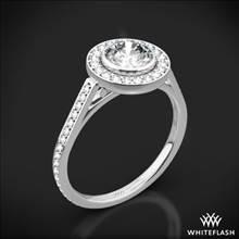 18k White Gold Halo Bezel Diamond Engagement Ring | Whiteflash