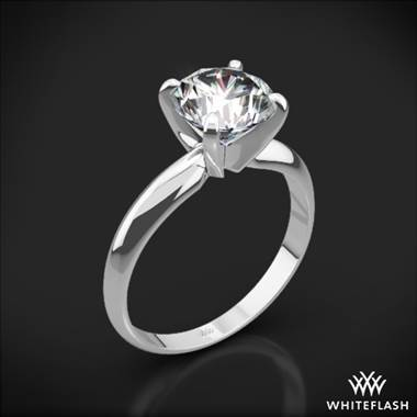 18k White Gold Heavy 4 Prong Solitaire Engagement Ring