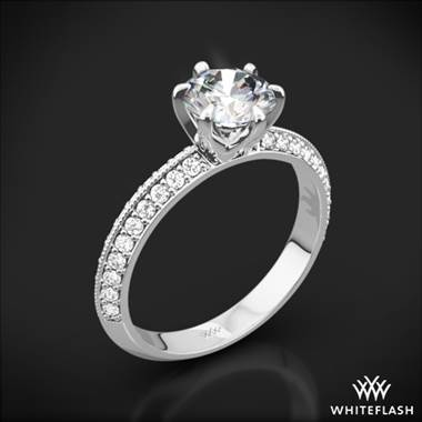 18k White Gold Knife-Edge Pave Diamond Engagement Ring