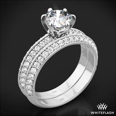 18k White Gold Knife-Edge Pave Diamond Wedding Set