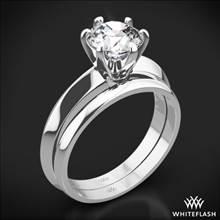 18k White Gold Knife-Edge Solitaire Wedding Set | Whiteflash