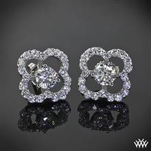18k White Gold Large Clover Diamond Earring Jackets (0.90ctw; G/SI) | Whiteflash