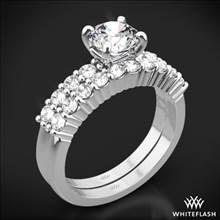 18k White Gold Legato Shared Prong Diamond Wedding Set | Whiteflash