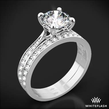 18k White Gold Legato Sleek Line Pave Diamond Wedding Set