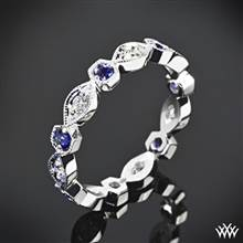 "18k White Gold ""Odyssey"" Diamond and Blue Sapphire Right Hand Ring 
