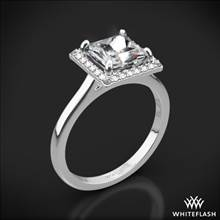 18k White Gold Princess Halo Solitaire Engagement Ring | Whiteflash