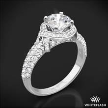 18k White Gold Ribbon Halo Diamond Engagement Ring | Whiteflash