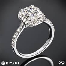 18k White Gold Ritani 1EMZ1323 French-Set Halo Diamond Engagement Ring for Emerald | Whiteflash