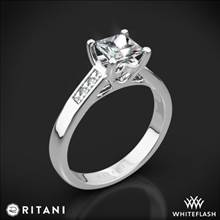 18k White Gold Ritani 1PCZ1193 Channel-Set Diamond Engagement Ring for Princess | Whiteflash