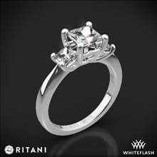 18k White Gold Ritani 1PCZ1237P Three Stone Engagement Ring for Princess | Whiteflash