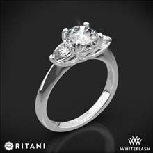 18k White Gold Ritani 1RZ1010P Three Stone Engagement Ring with Pear-Cut Diamonds | Whiteflash