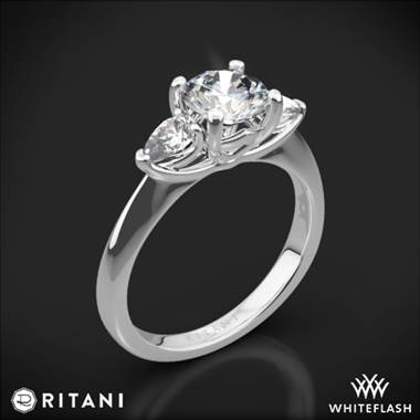 18k White Gold Ritani 1RZ1010P Three Stone Engagement Ring with Pear-Cut Diamonds