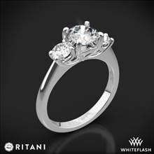 18k White Gold Ritani 1RZ1015P Three Stone Engagement Ring | Whiteflash