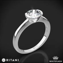 18k White Gold Ritani 1RZ1065 Semi Bezel-Set Solitaire Engagement Ring | Whiteflash