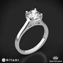 18k White Gold Ritani 1RZ1178 Diamond Tulip Cathedral Solitaire Engagement Ring | Whiteflash