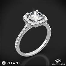 18k White Gold Ritani 1RZ1321 French-Set Halo Diamond Engagement Ring | Whiteflash