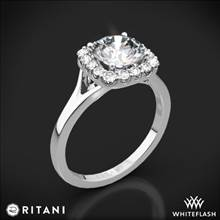 18k White Gold Ritani 1RZ1322 French-Set Halo Solitaire Engagement Ring | Whiteflash