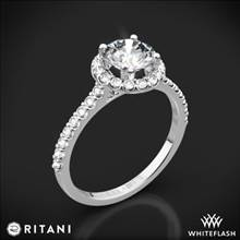 18k White Gold Ritani 1RZ1323 French-Set Halo Diamond Engagement Ring | Whiteflash