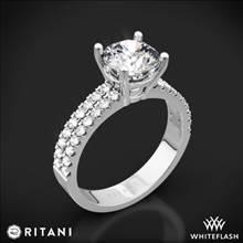 18k White Gold Ritani 1RZ1324 Double French-Set Diamond Engagement Ring | Whiteflash