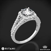 18k White Gold Ritani 1RZ1327 Cushion Halo 'V' Diamond Engagement Ring | Whiteflash