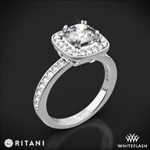 18k White Gold Ritani 1RZ1698 Vintage Cushion Halo Diamond Engagement Ring | Whiteflash