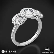 18k White Gold Ritani 1RZ1702 Halo Diamond Three-Stone Diamond Engagement Ring | Whiteflash